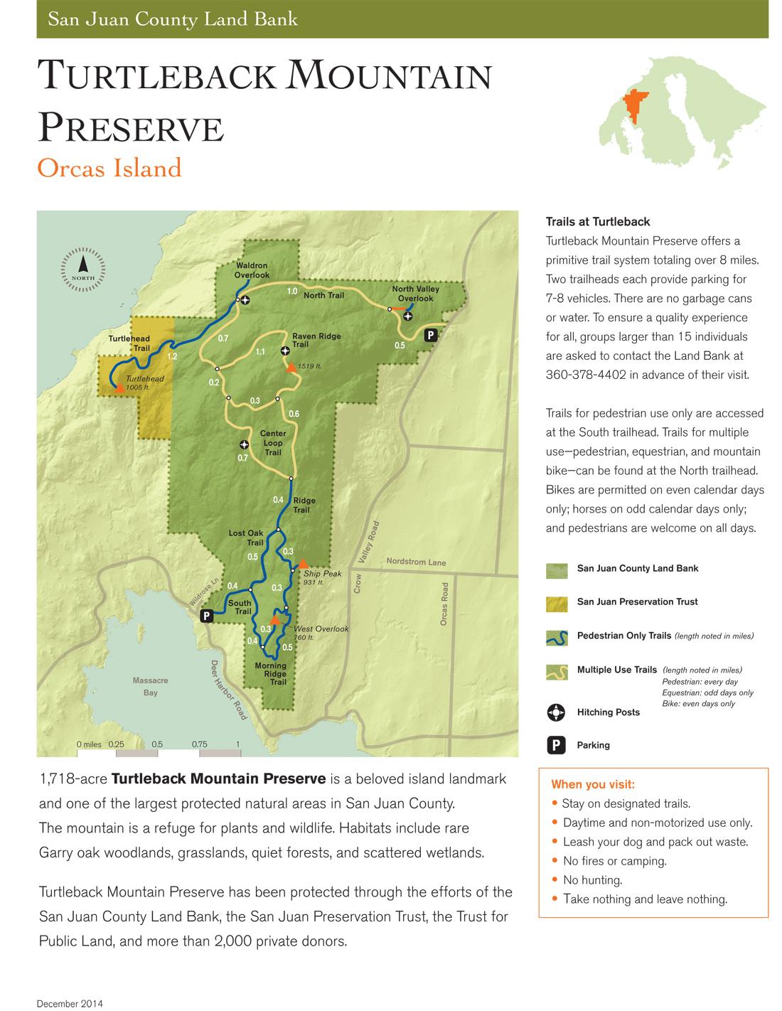 Turtleback Mountain Preserve Hiking Map